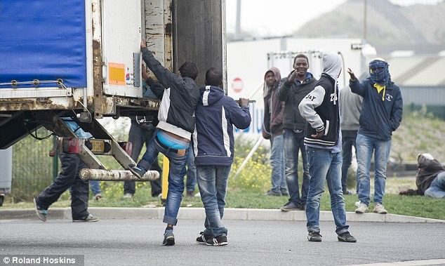 News photo of immigrants at Calais