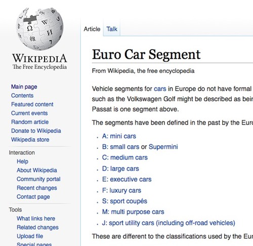 Screenshot of Wikipedia article about European Car Segmentation