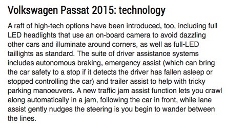 Screenshot of an article about the Volkswagen Passat 2015 which describes how the car can come to a halt unaided